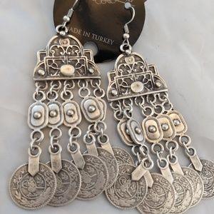 Long belly dancer BOHO  Coin earrings